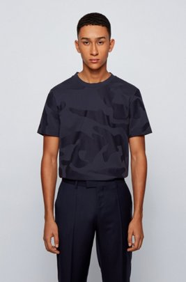 Mercerised-cotton T-shirt in camouflage-pattern jacquard, Dark Blue
