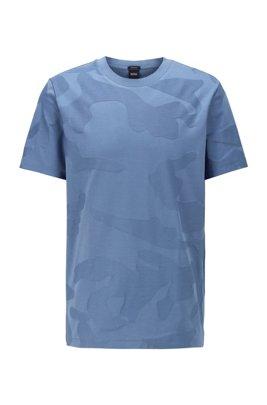 T-shirt in cotone mercerizzato con motivo camouflage jacquard, Celeste