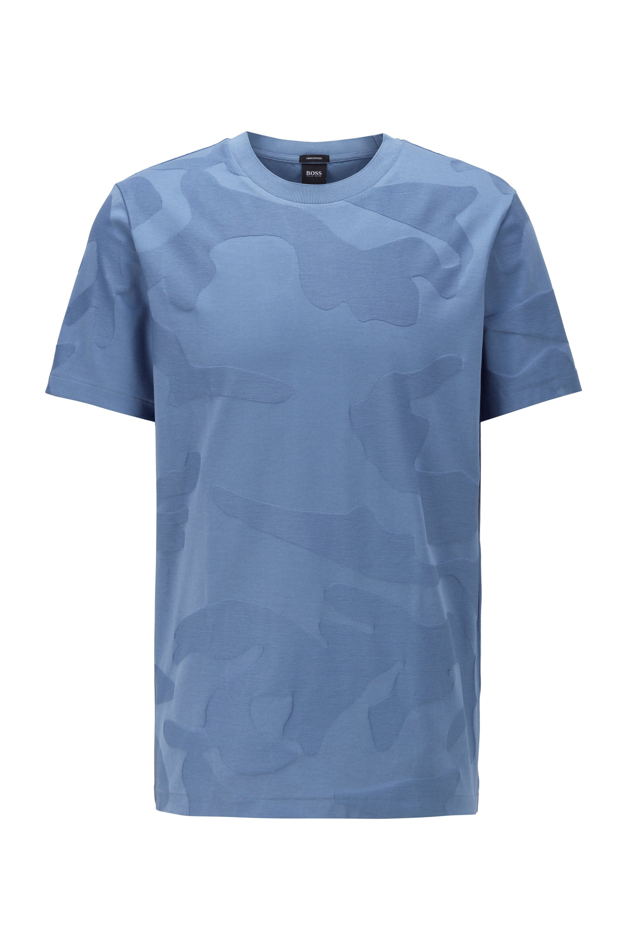 Mercerised-cotton T-shirt in camouflage-pattern jacquard, Light Blue