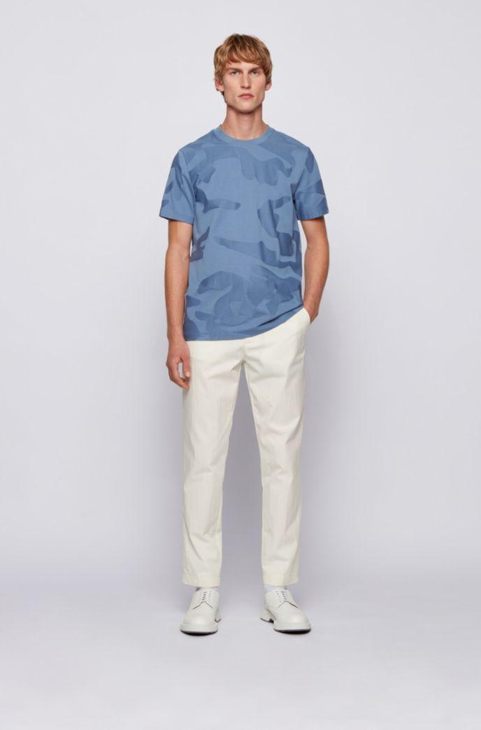 Mercerised-cotton T-shirt in camouflage-pattern jacquard