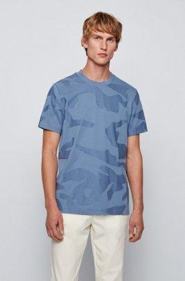 Mercerised-cotton T-shirt in camouflage-pattern jacquard, Light Blue