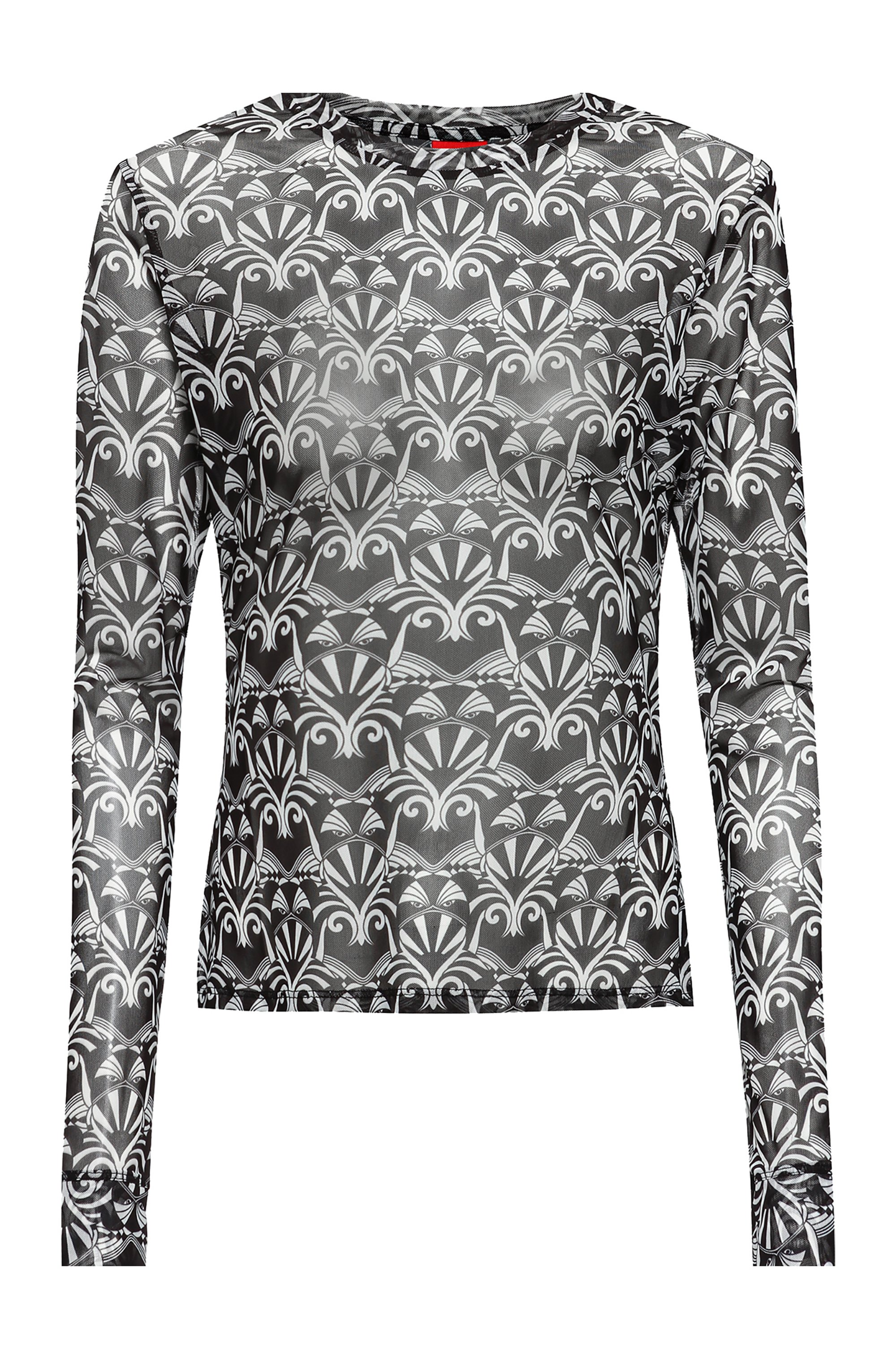 Long-sleeved mesh top with bear motifs, Patterned
