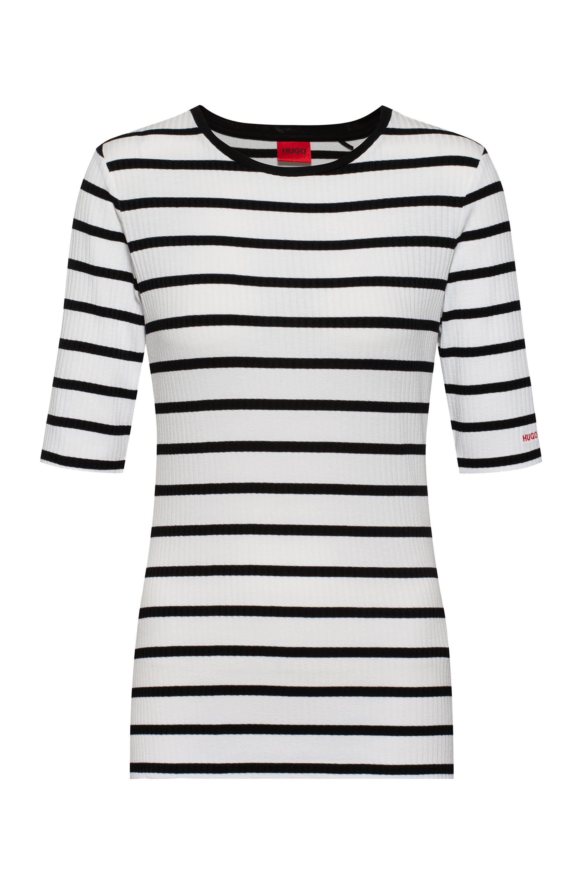 Slim-fit striped top in ribbed stretch jersey, White