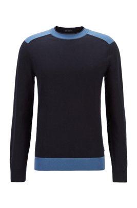 Maglione a girocollo in cotone italiano con dettagli a contrasto, Blu scuro