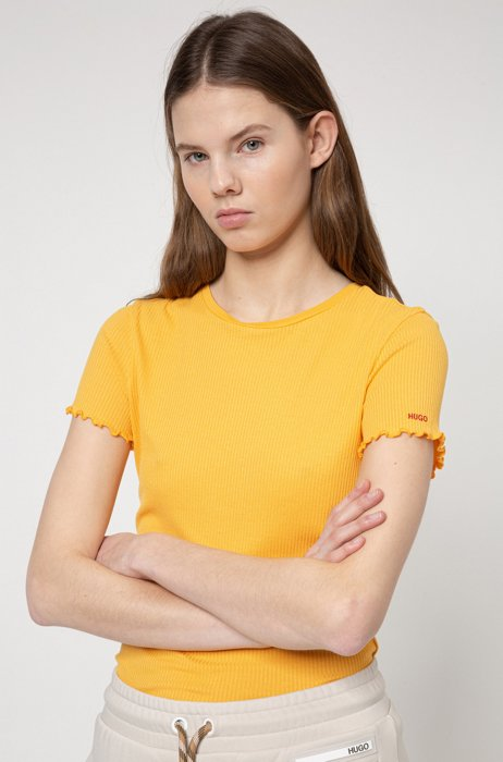 Slim-fit top in ribbed jersey with ruffle sleeves, Yellow