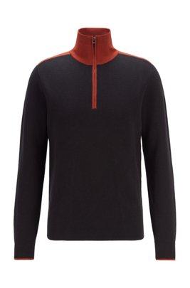 Jersey estilo troyer con cuello en contraste de algodón y lana virgen, Negro