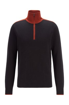 Contrast-collar troyer sweater in cotton with virgin wool, Black