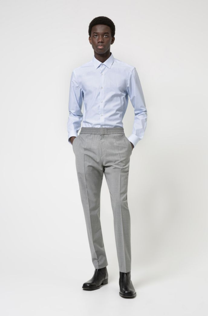 Slim-fit shirt in structured cotton canvas