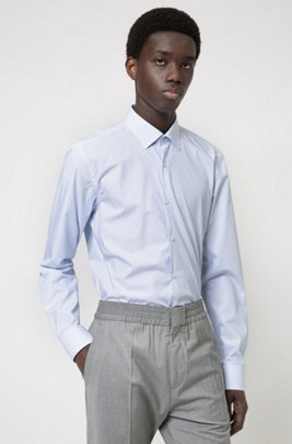 Slim-fit shirt in structured cotton canvas, Light Blue