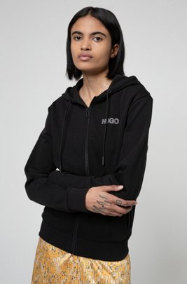 Zip-through jersey jacket with silicone-print logo, Black