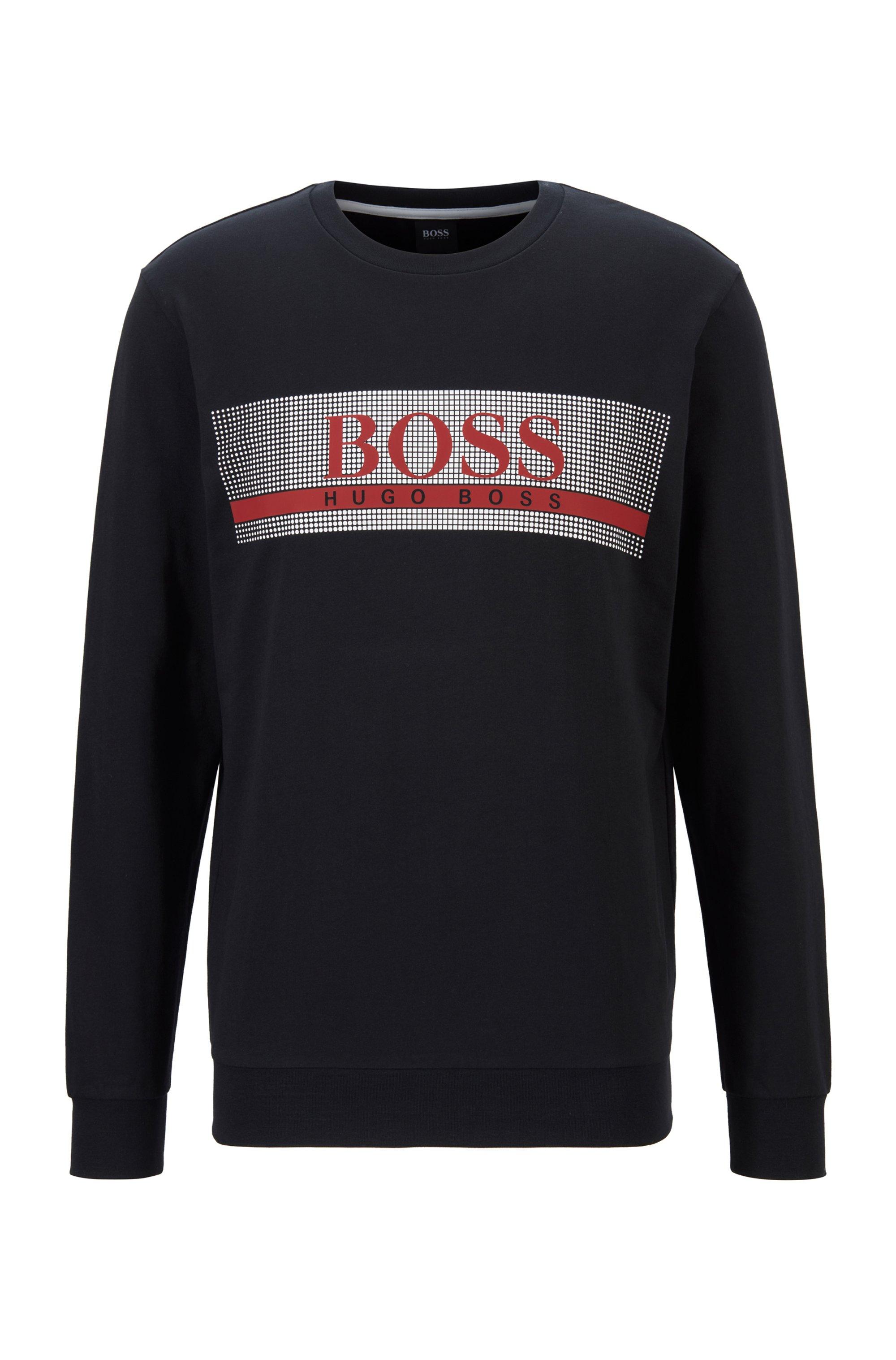 Loungewear-Sweatshirt aus French Terry mit heißversiegeltem Logo, Schwarz