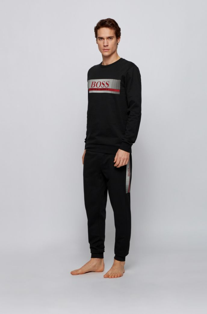 French-terry loungewear sweatshirt with heat-sealed logo