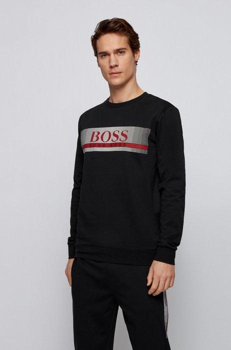 French-terry loungewear sweatshirt with heat-sealed logo, Black