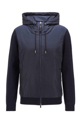 Hybrid zip-through jacket with drawstring hood, Dark Blue