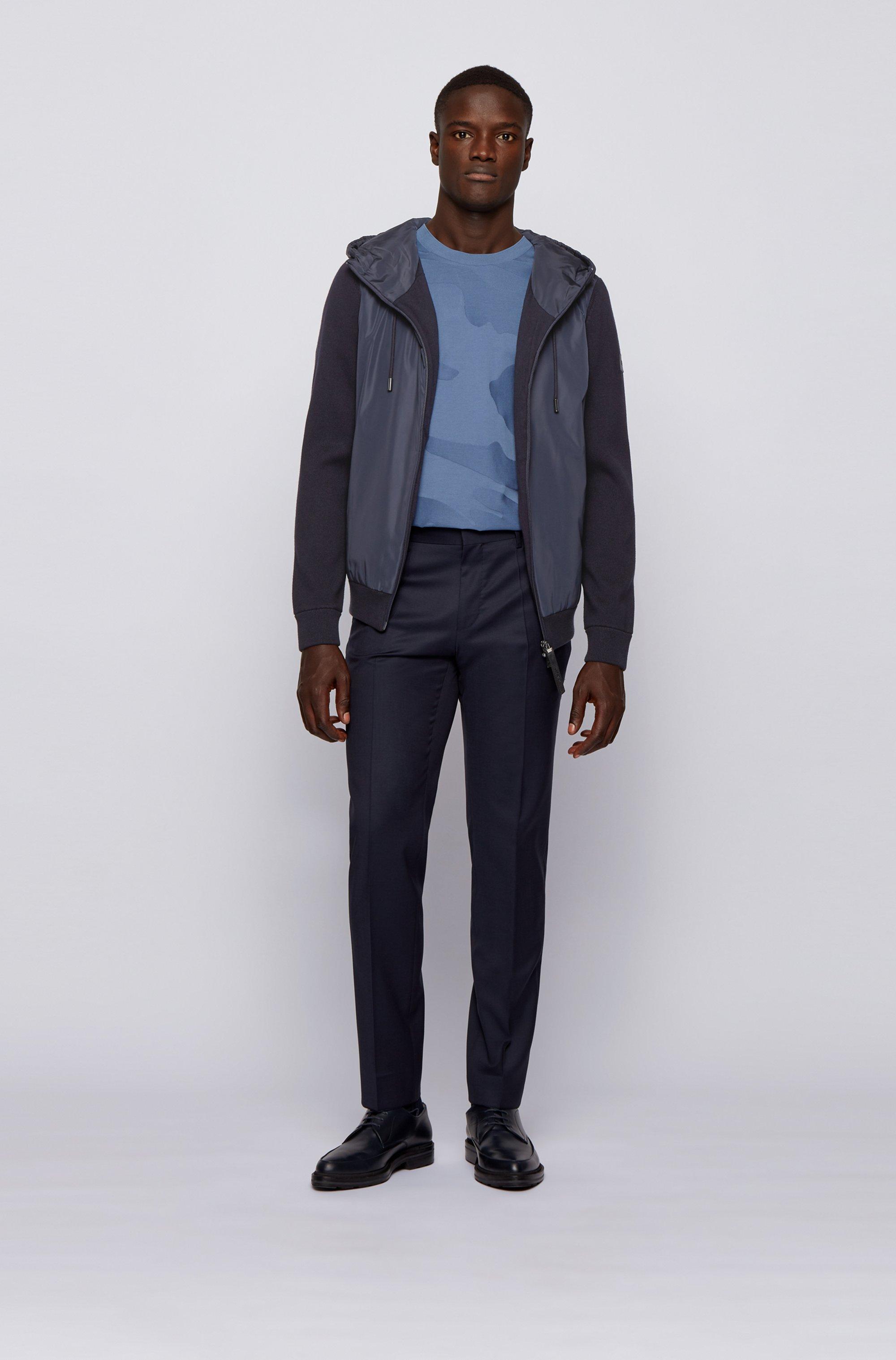 Hybrid zip-through jacket with drawstring hood