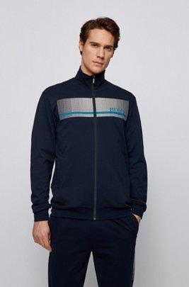 Loungewear-Jacke aus French Terry mit heißversiegeltem Logo, Dunkelblau