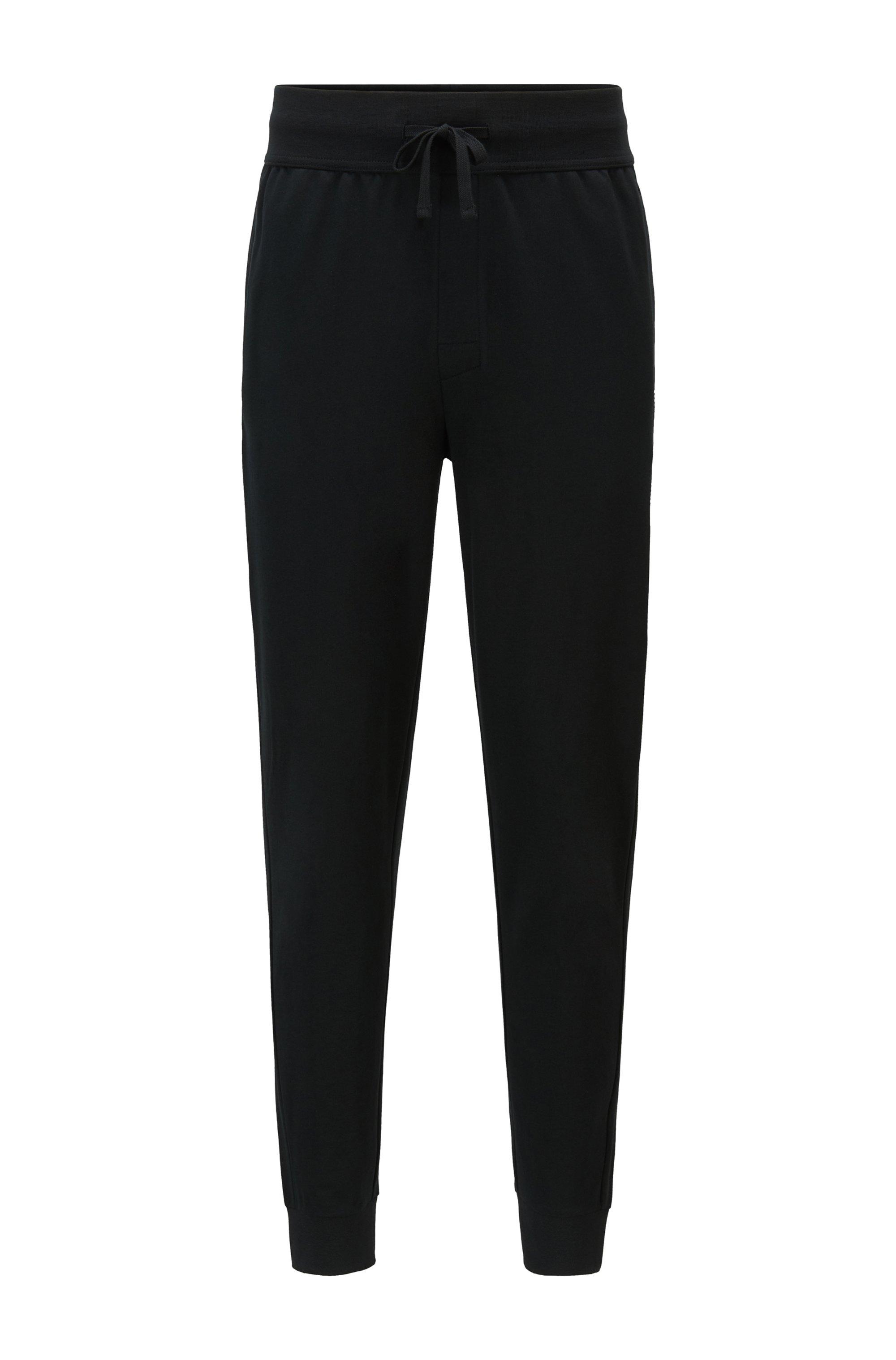 Loungewear-Hose mit Beinbündchen und heißversiegeltem Logo-Artwork, Schwarz