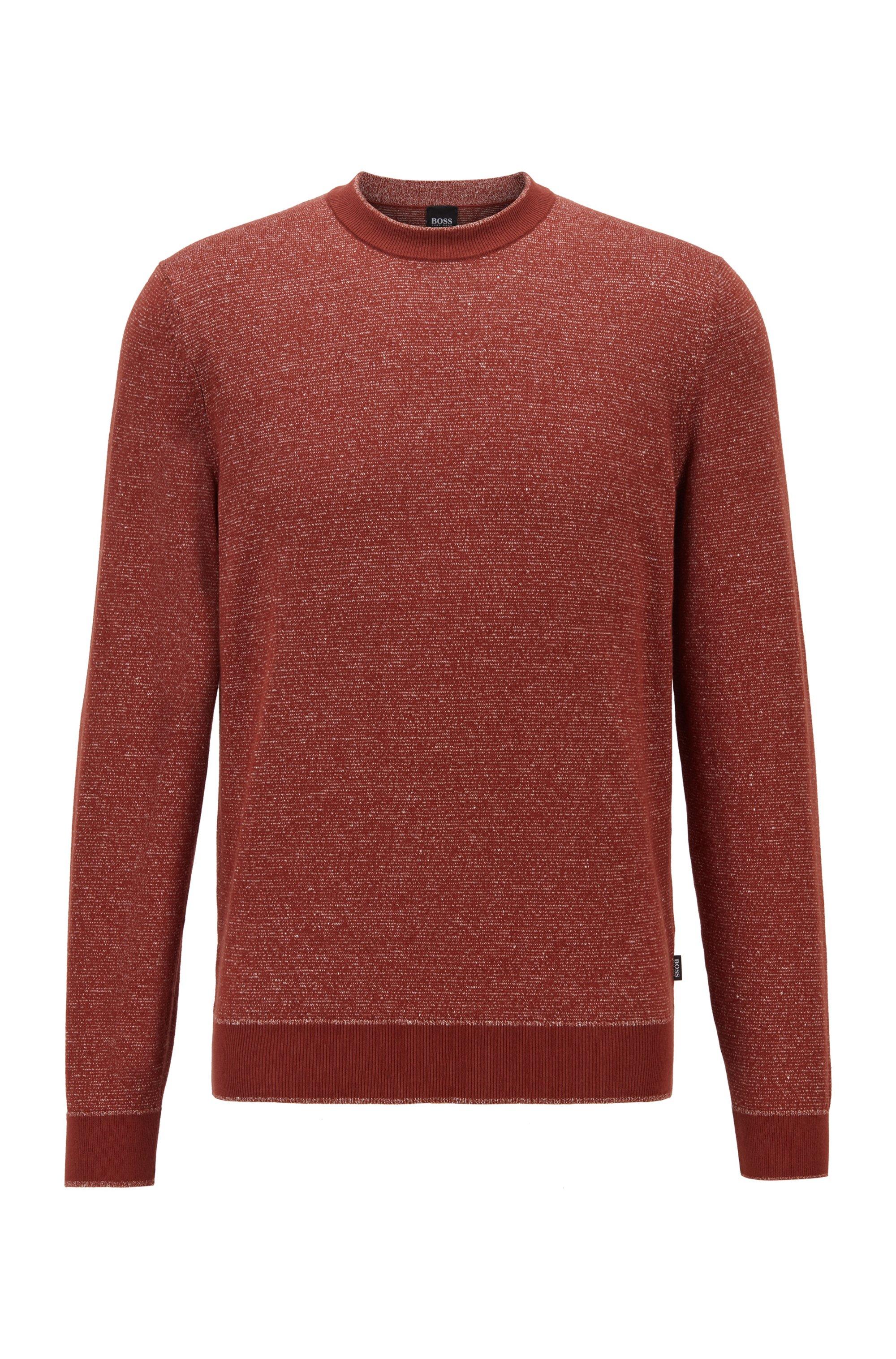 Jersey de lino y algodón con rayas mouliné, Marrón