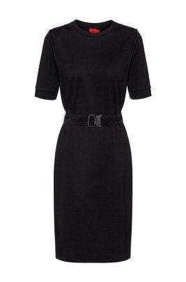 T-shirt dress in organic cotton with logo belt, Black