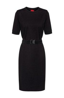 T-shirt dress in organic cotton with logo belt, Black