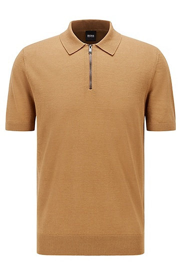 拉链衣领短袖 Polo 毛衣,  268_Medium Beige