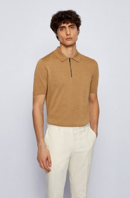 Short-sleeved polo sweater with zipped neck, Beige