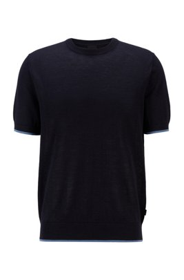 Short-sleeved sweater in Ramie and cotton, Dark Blue