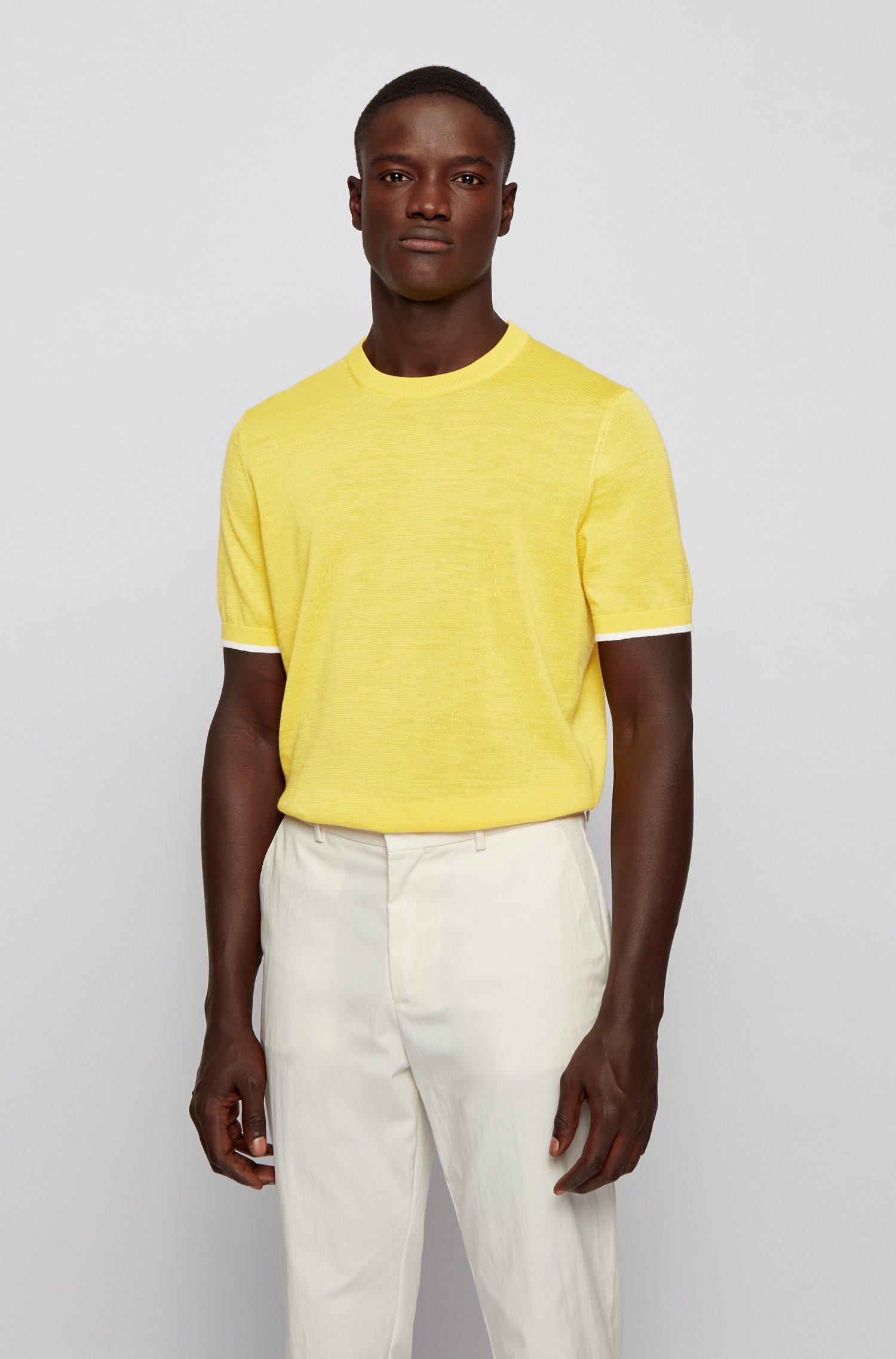 Short-sleeved sweater in Ramie and cotton, Yellow