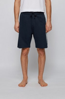 French-terry loungewear shorts with heat-sealed logo artwork, Dark Blue