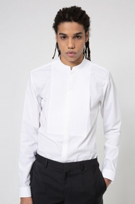Extra-slim-fit evening shirt with stand collar, White