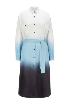 Dip-dye shirt dress in cotton and silk, Patterned