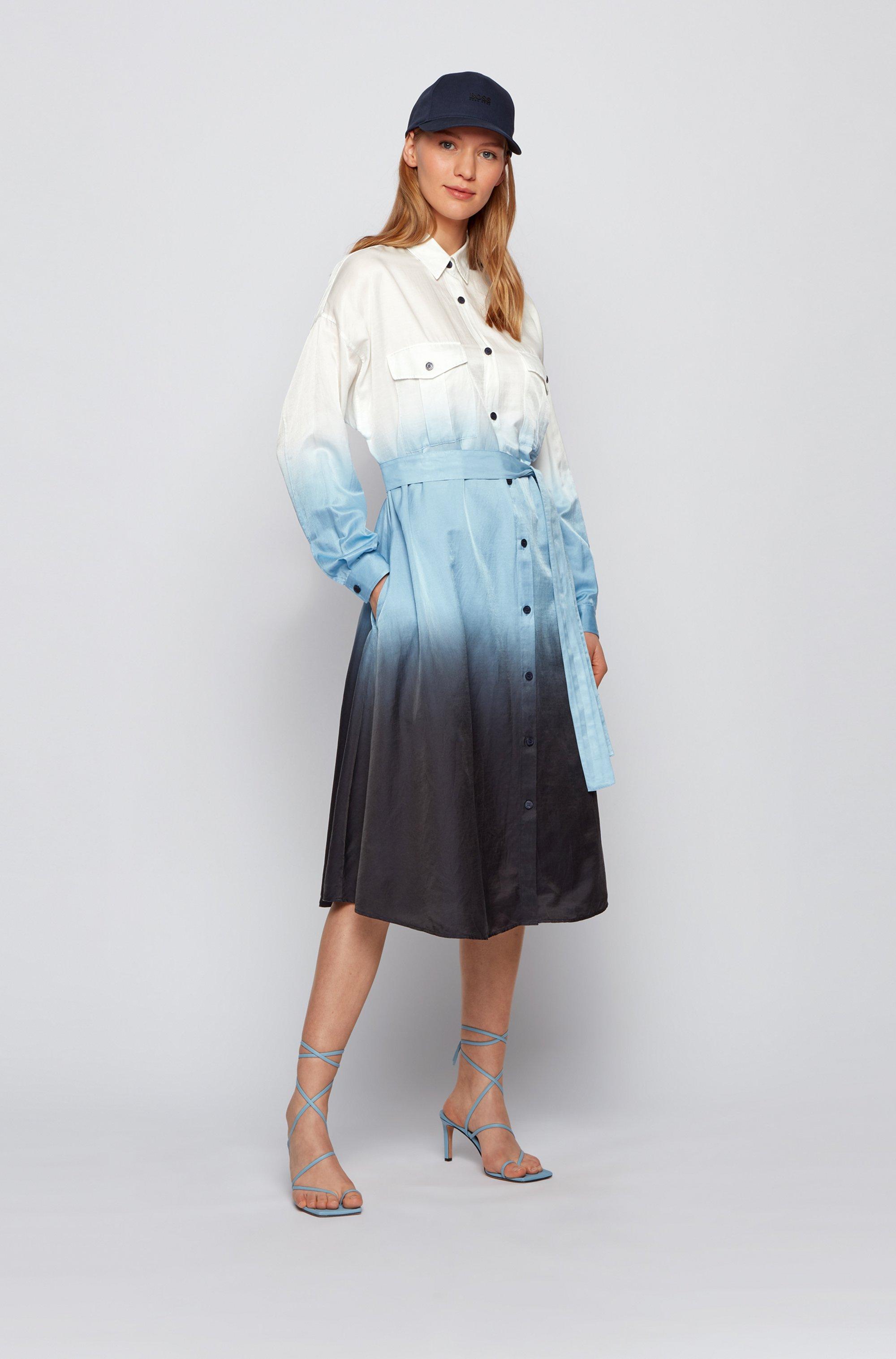 Dip-Dye-Hemdblusenkleid aus Baumwolle und Seide