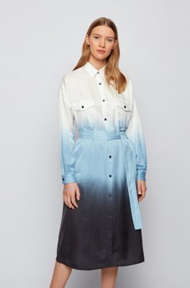 Dip-Dye-Hemdblusenkleid aus Baumwolle und Seide, Gemustert