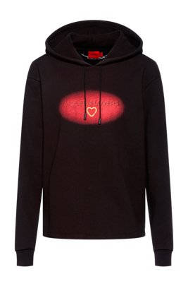 Relaxed-fit hoodie in organic cotton with Valentine's Day print, Black