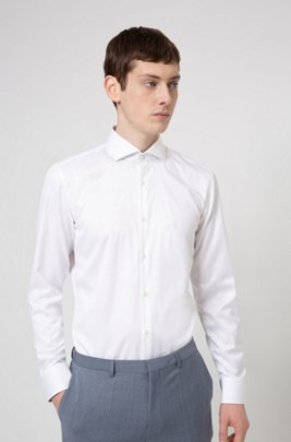 Easy-iron slim-fit shirt in signature cotton twill, White