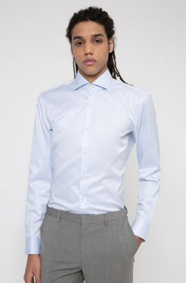 Easy-iron slim-fit shirt in signature cotton twill, Light Blue