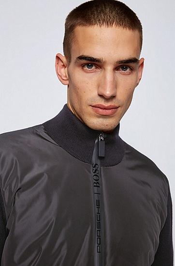 Porsche联名款针织衣袖拉链夹棉夹克,  001_黑色