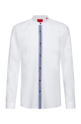 Linen-blend slim-fit shirt with contrast placket, White