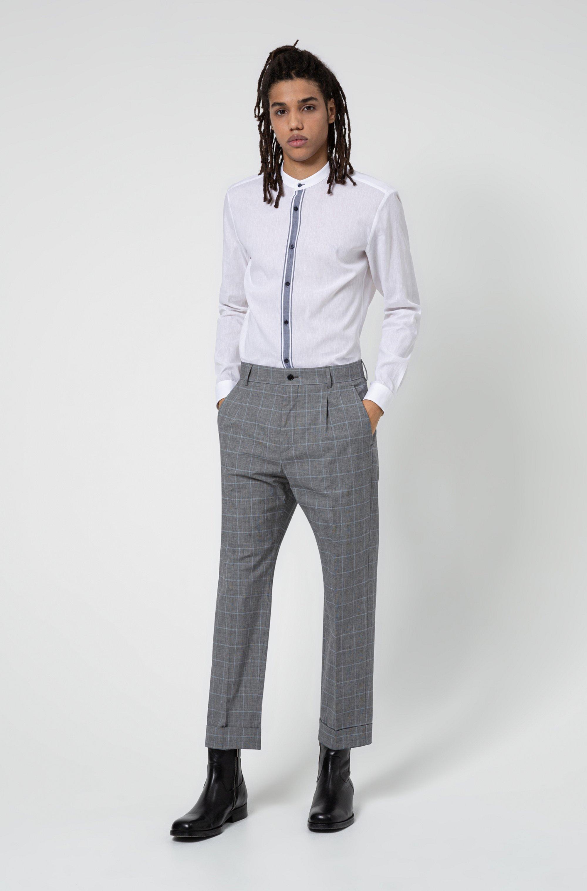 Linen-blend slim-fit shirt with contrast placket