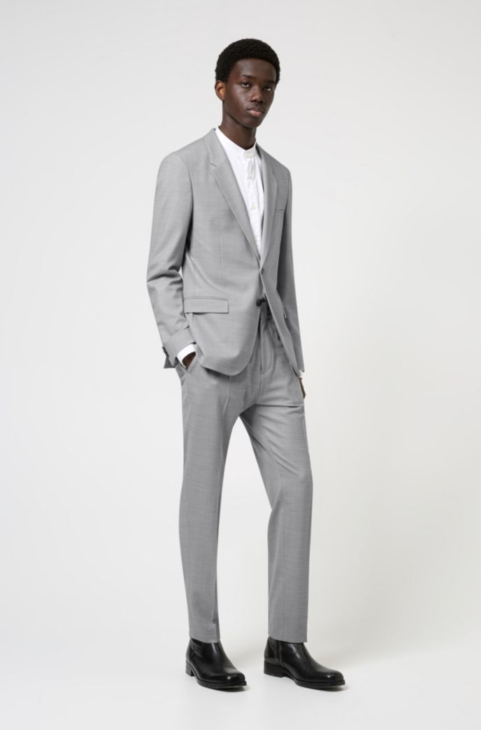 Slim-fit shirt in easy-iron cotton twill