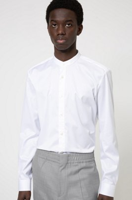 Slim-fit shirt in easy-iron cotton twill, White