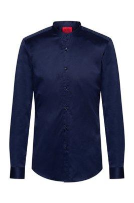 Slim-fit shirt in easy-iron cotton twill, Dark Blue