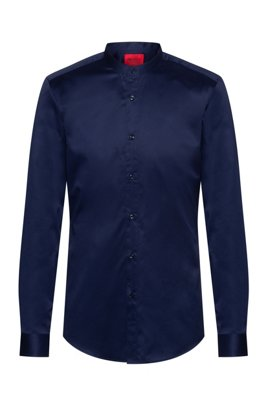 Slim-fit shirt in easy-iron cotton twill, Dark Blue