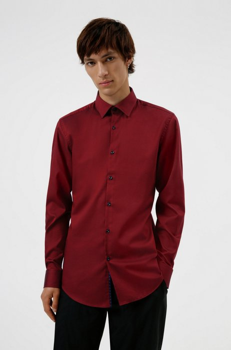 Slim-fit shirt in easy-iron Oxford cotton, Dark Red
