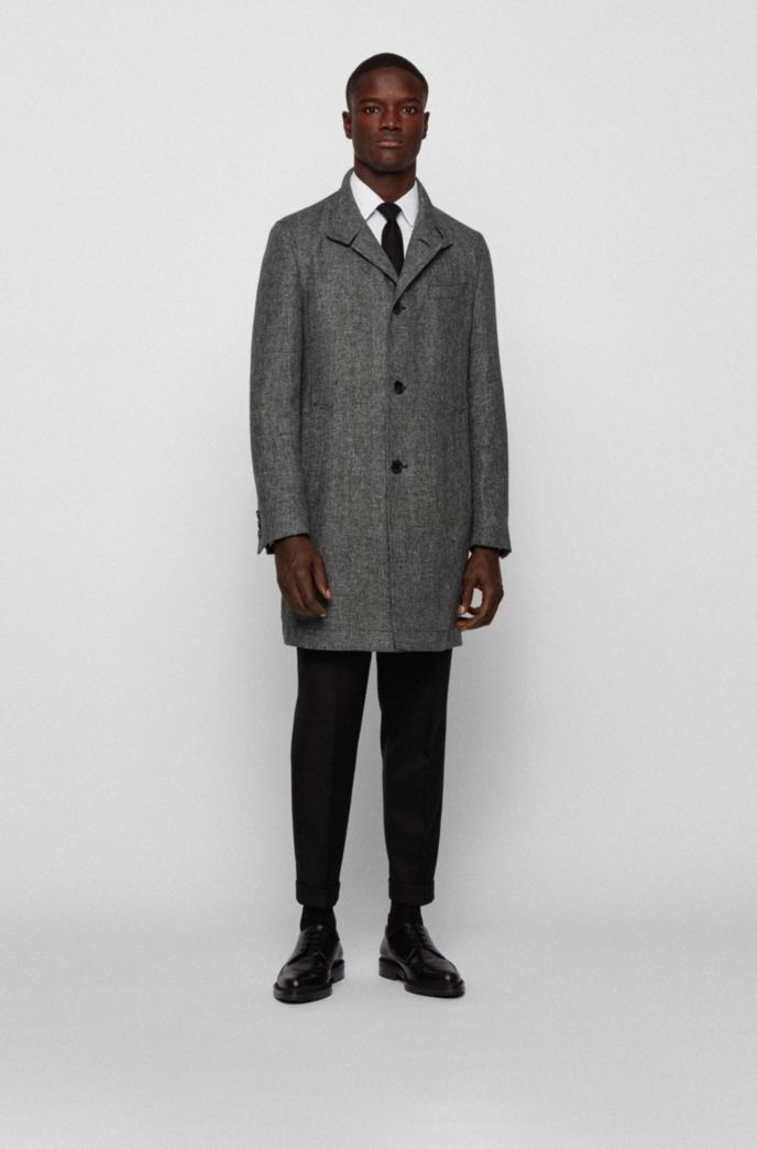Slim-fit coat in melange yarn with stand collar