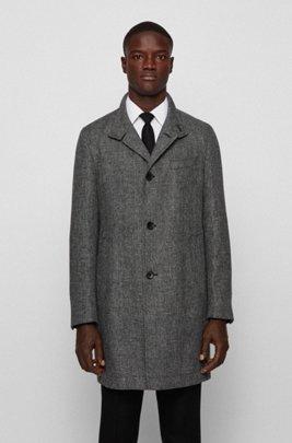 Slim-fit coat in melange yarn with stand collar, Dark Grey