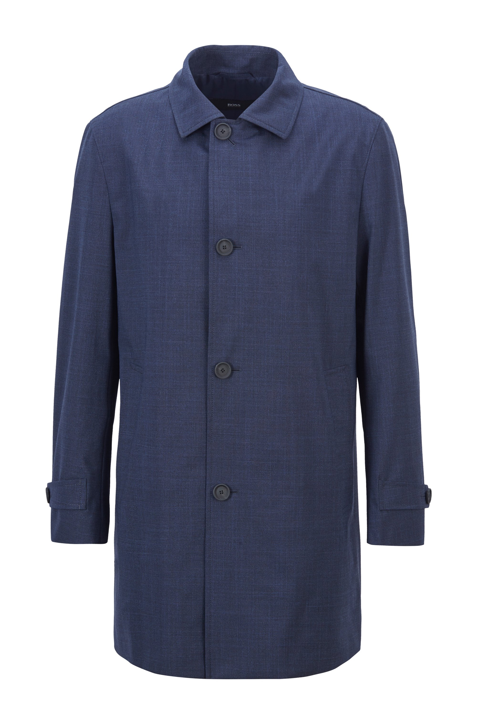 Regular-fit coat in melange canvas with stretch, Dark Blue