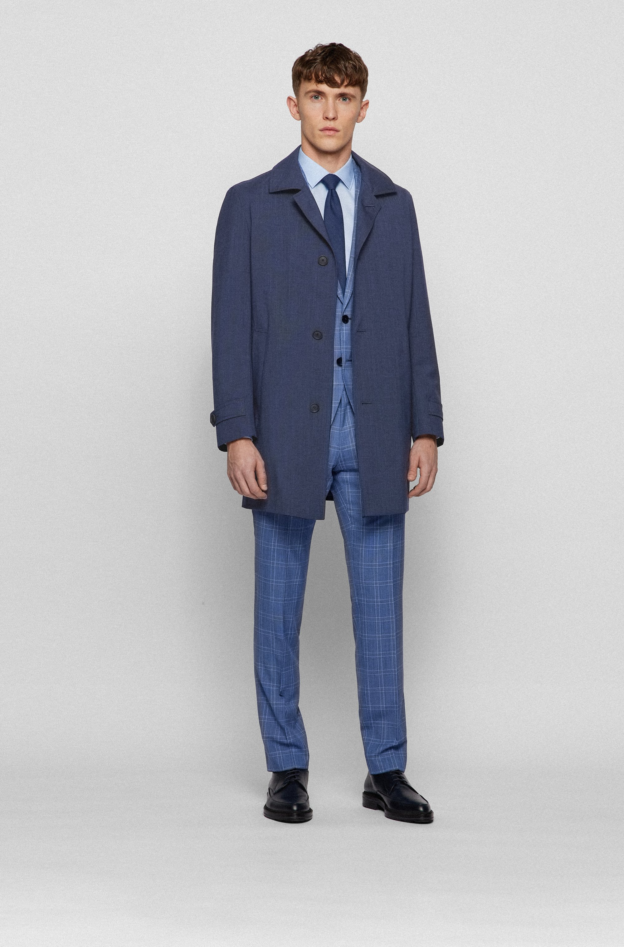 Regular-fit coat in melange canvas with stretch