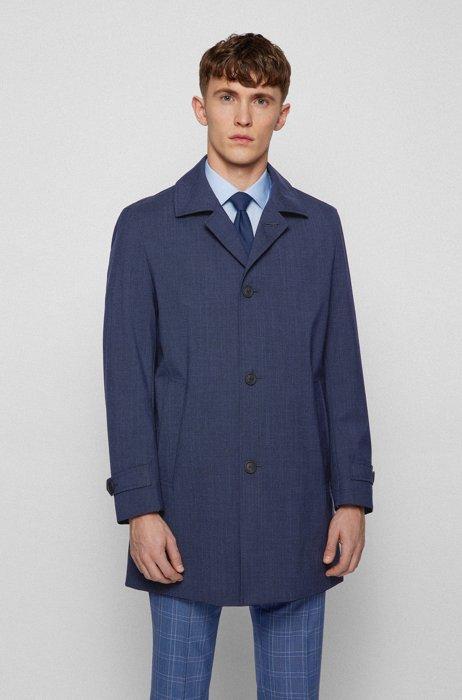 Regular-fit coat in melange canvas with stretch, Dark Blue