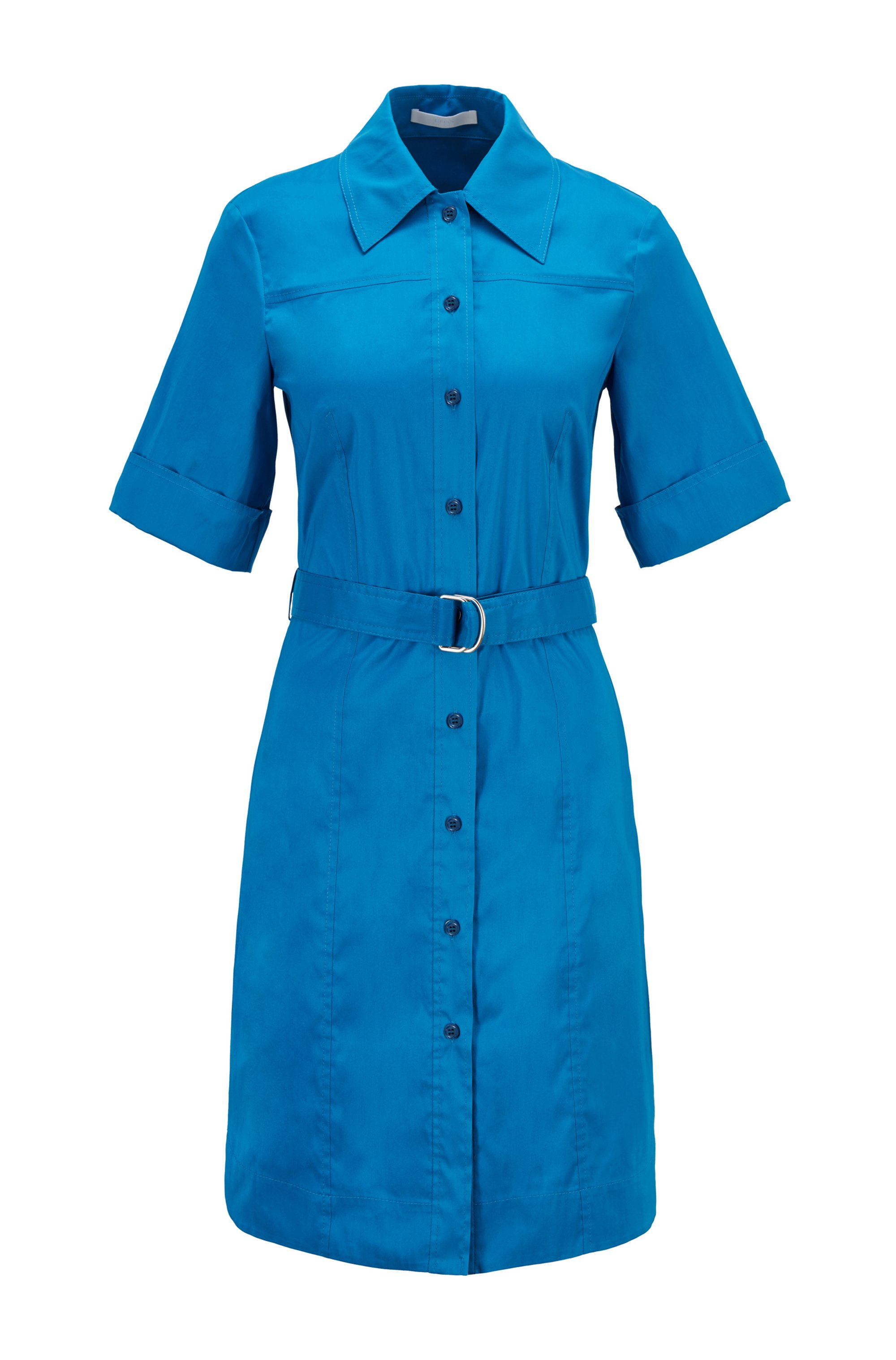 Belted shirt dress in stretch poplin, Blue